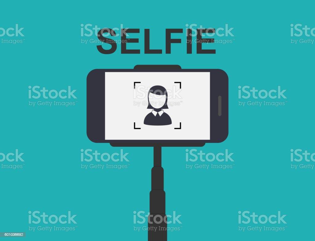 Smartphone Selfie. Tool Monopod. vector art illustration