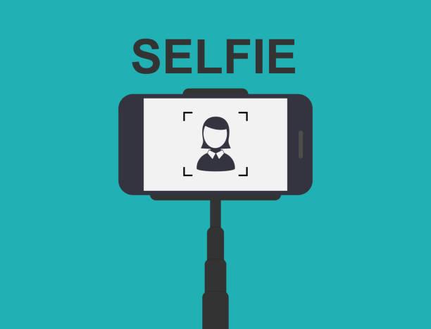 smartphone selfie. tool monopod. - selfie stock-grafiken, -clipart, -cartoons und -symbole
