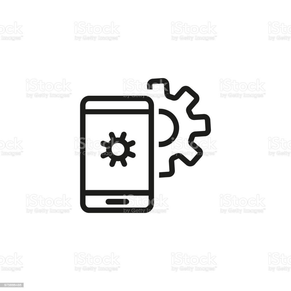 Smartphone settings line icon vector art illustration