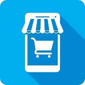Vector illustration of a blue smartphone with shopping cart icon and awning in flat style.