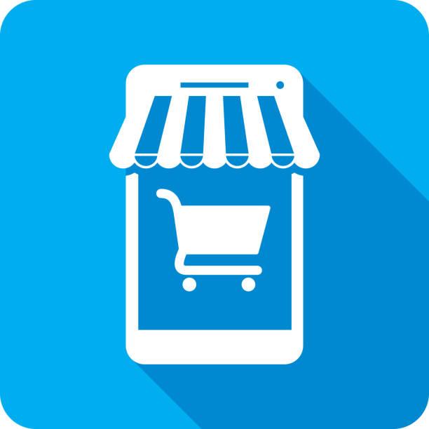 ilustrações de stock, clip art, desenhos animados e ícones de smartphone shopping icon silhouette - online shopping