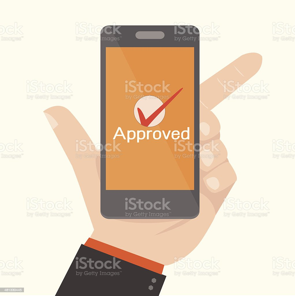 Smartphone Showing Approval,Online payments concept vector art illustration