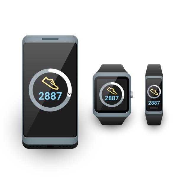Smartphone, Smartwatch und Aktivität Fitness Tracker mit SchrittZähler App auf dem Bildschirm. Vektor-Illustration – Vektorgrafik