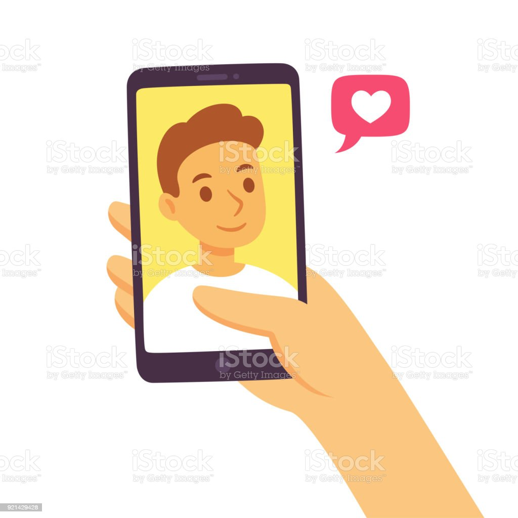 Smartphone social communication concept Video call with loved one. Female hand holding smartphone with boyfriend on screen. Online dating, long distance relationship concept. Flat cartoon vector illustration. Adult stock vector