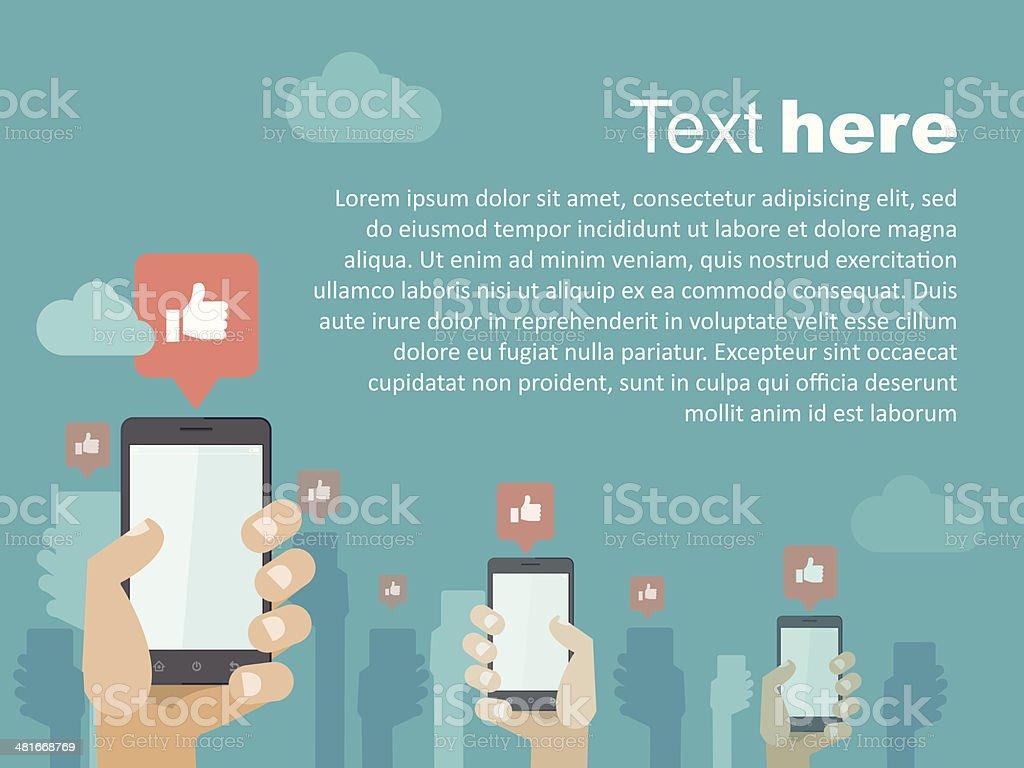 Smartphone social copyspace vector art illustration