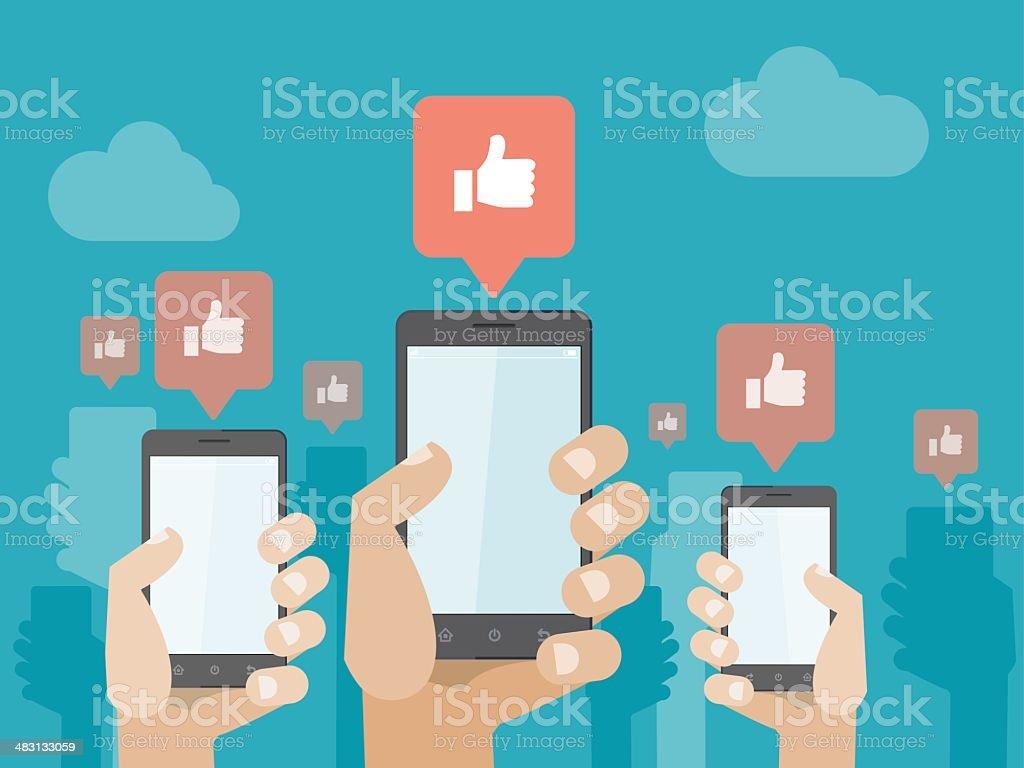 Smartphone social Likes vector art illustration