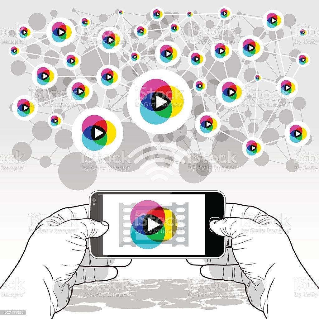 SmartPhone streaming media player vector art illustration