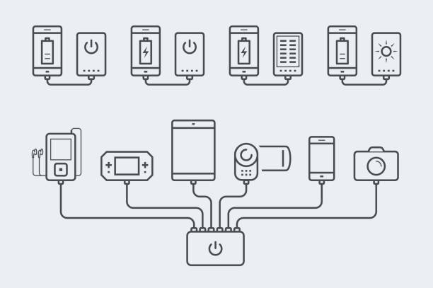Smartphone, tablet, console, player, camera and camcorder charged by an powerbank in thin line style Smartphone, tablet, e-book, player, camera and camcorder charged by an powerbank  in thin line style cell phone charger stock illustrations