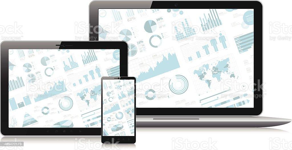 Smartphone, tablette pc et ordinateur portable avec l'infographie écran - Illustration vectorielle