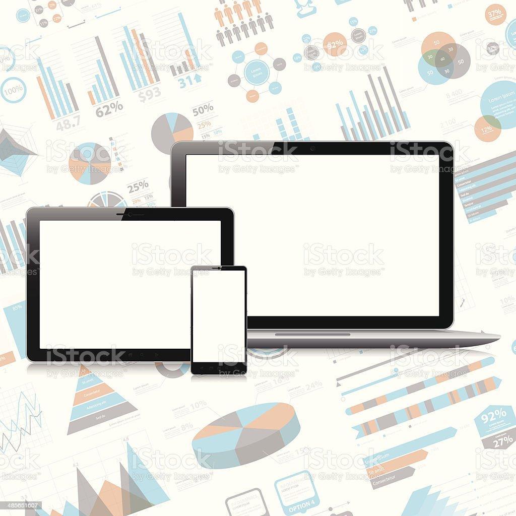 Smartphone, tablette pc et ordinateur portable sur l'infographie-plan. - Illustration vectorielle