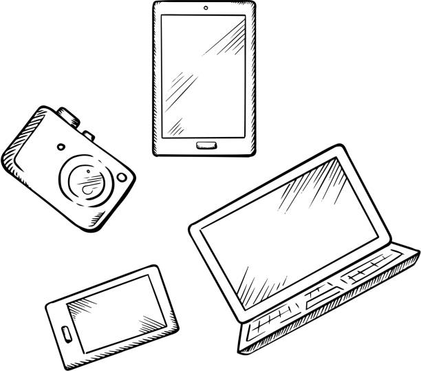 Smartphone, tablet pc, laptop and camera Sketch of modern smartphone, tablet pc, laptop and digital photo camera, for electronic devices theme design sketch stock illustrations