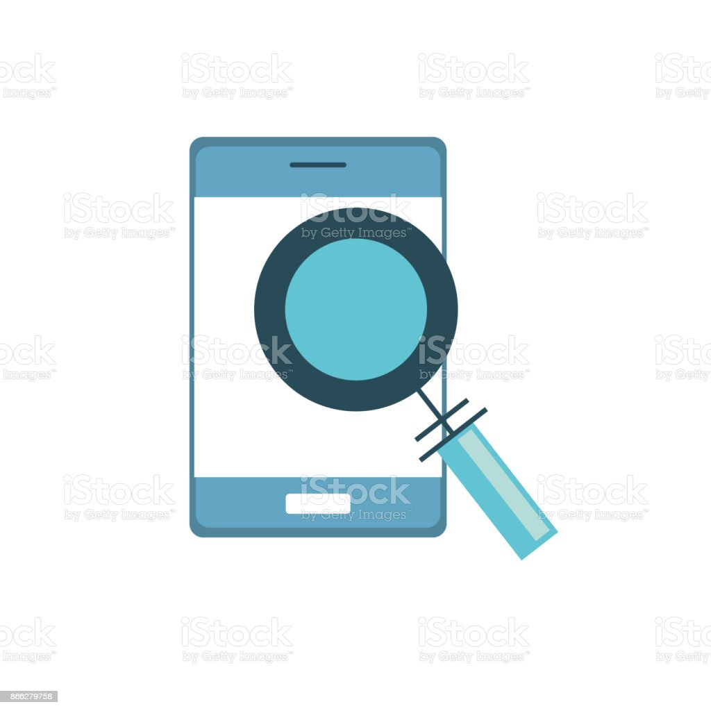 smartphone technology information with magnifying glass vector art illustration