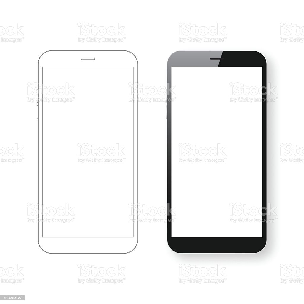 Smartphone template and Mobile phone outline isolated on white background. - からっぽのロイヤリティフリーベクトルアート