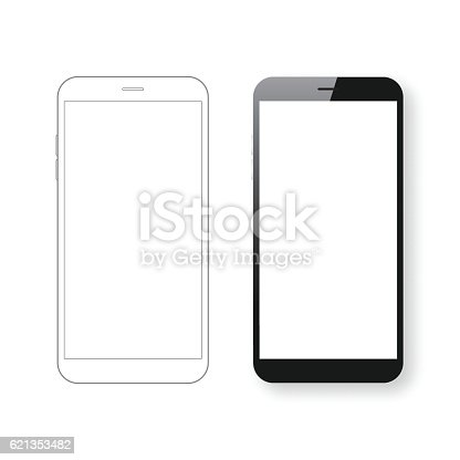 Smartphone template and Mobile phone outline isolated on white background.