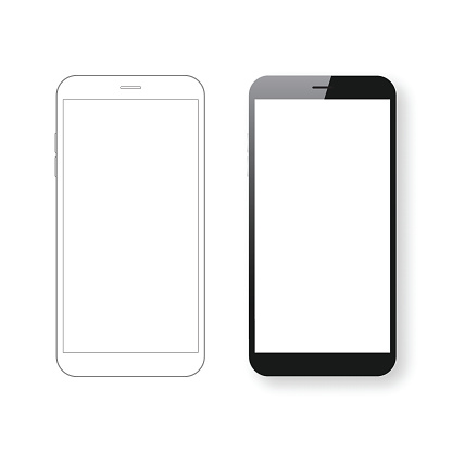 Smartphone Template And Mobile Phone Outline Isolated On White Background - からっぽのベクターアート素材や画像を多数ご用意