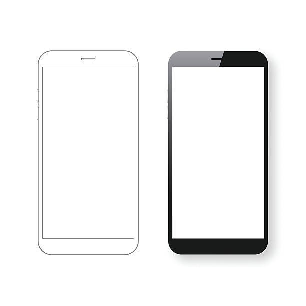 Smartphone template and Mobile phone outline isolated on white background. Smartphone template and Mobile phone outline isolated on white background.  iphone stock illustrations