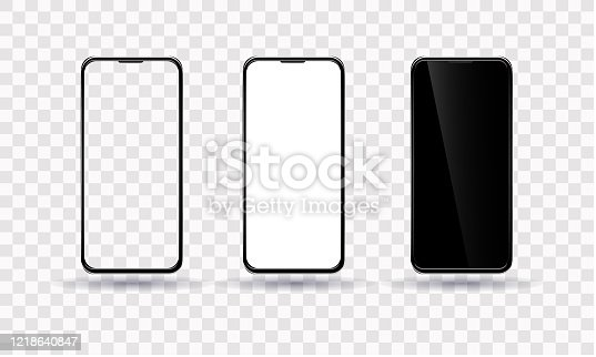 Smartphone template. The phone is black with a transparent, black and white screen