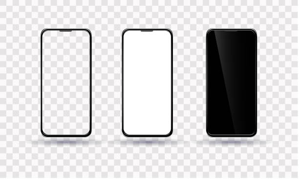 Smartphone template. The phone is black with a transparent, black and white screen Smartphone template. The phone is black with a transparent, black and white screen phone stock illustrations