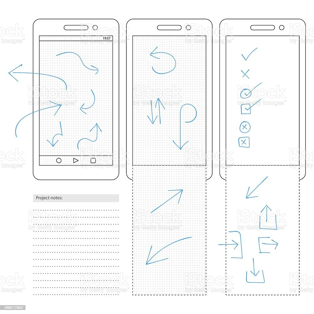 Smartphone Template With Dot Grid And Arrow Symbols stock vector art ...