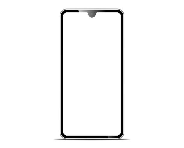 smartphone The shape of a modern mobile phone Designed to have a thin edge. smartphone The shape of a modern mobile phone Designed to have a thin edge. cyborg stock illustrations