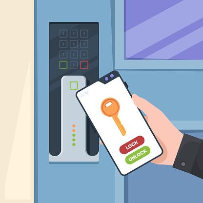 Smartphone unlock door. Electronic handle door wireless control system key garish vector concept background