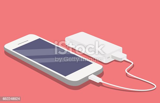 istock Smartphone USB cable connected with external power bank 652248524