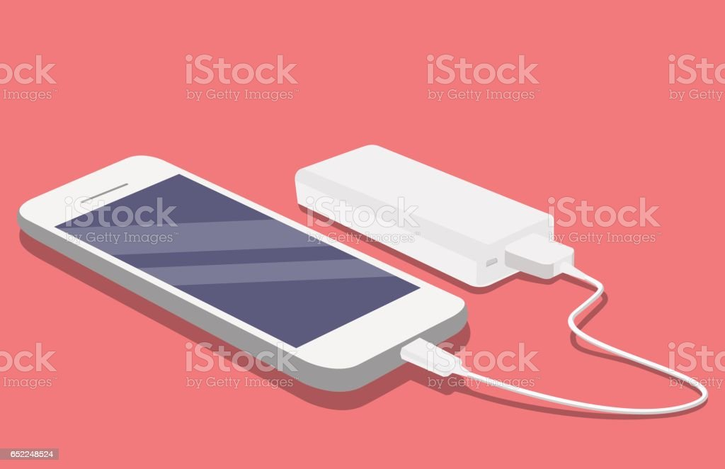 Smartphone USB cable connected with external power bank vector art illustration