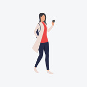 Smartphone user flat icon. Walking girl in casual using mobile phone. Communication concept. Can be used for topics like taking selfie, video call, social media addiction