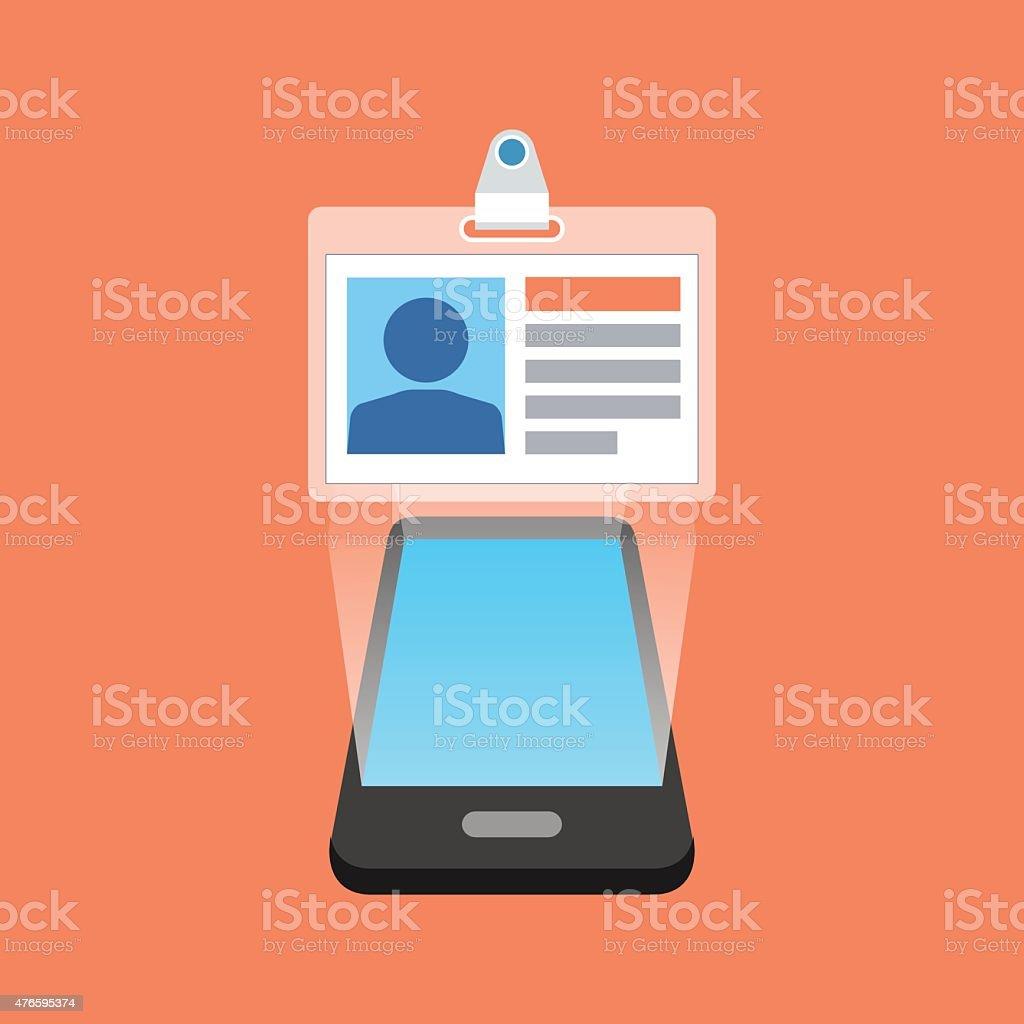 Smartphone user ID, profile concept. Isometric design. vector art illustration