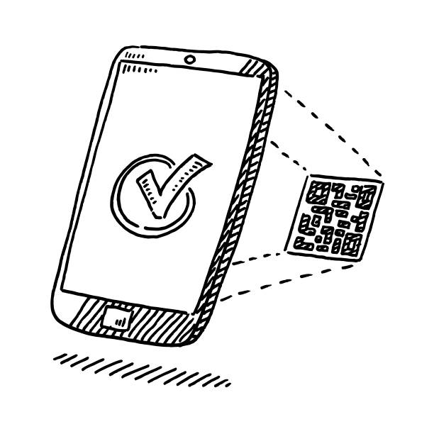 Smartphone Verification With QR Code Drawing vector art illustration