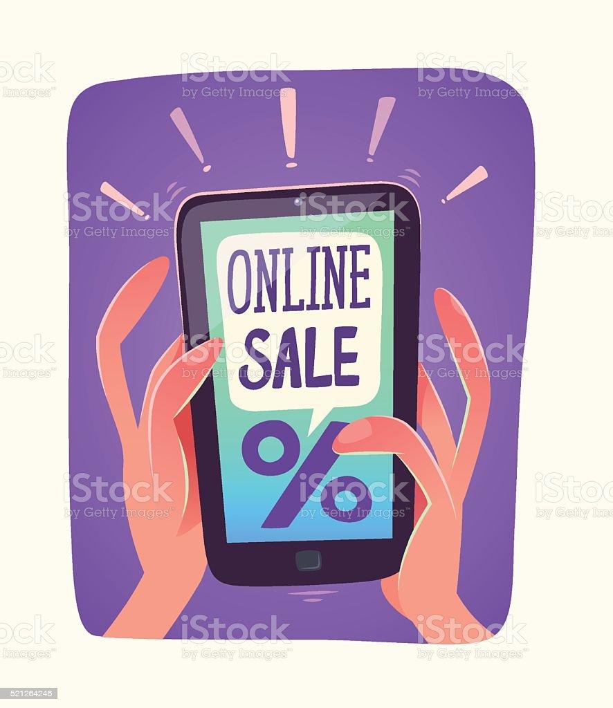 Smartphone views online sale vector art illustration