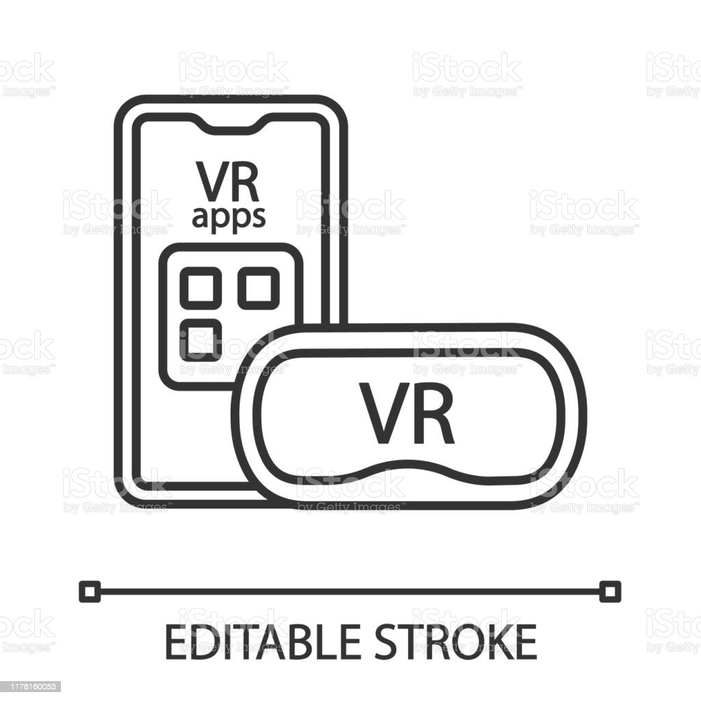 Smartphone Vr Headset Linear Icon Stock Illustration Download Image Now Istock
