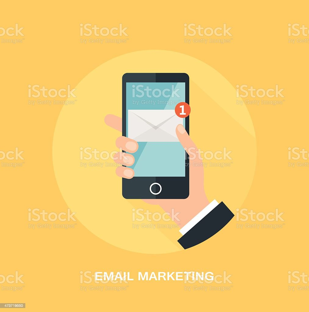 Smartphone with a e-mail marketing and promotion concept vector art illustration