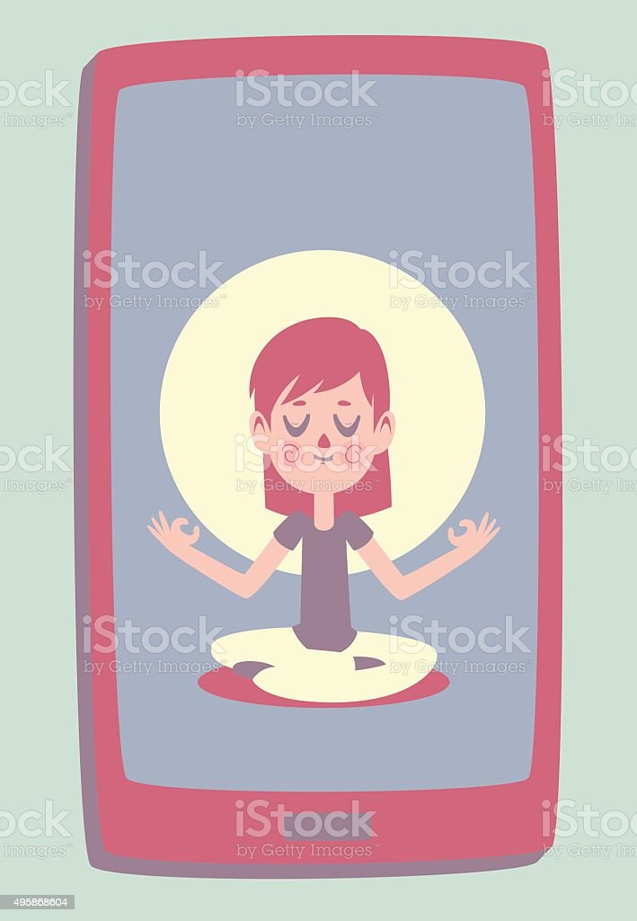 Smartphone with a Photo of a Cute Girl Meditating vector art illustration