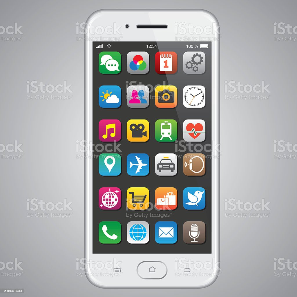 Smartphone with app icons vector art illustration