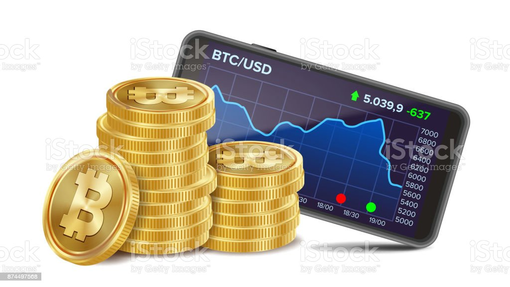Smartphone With Bitcoin Trading Chart Vector. Realistic Golden Coins. Virtual Money. Isolated On White Illustration vector art illustration