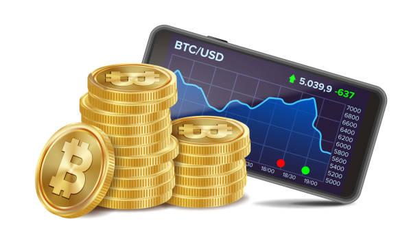 stockillustraties, clipart, cartoons en iconen met smartphone met bitcoin trading grafiek vector. realistische gouden munten. virtueel geld. geïsoleerd op witte afbeelding - bitcoin