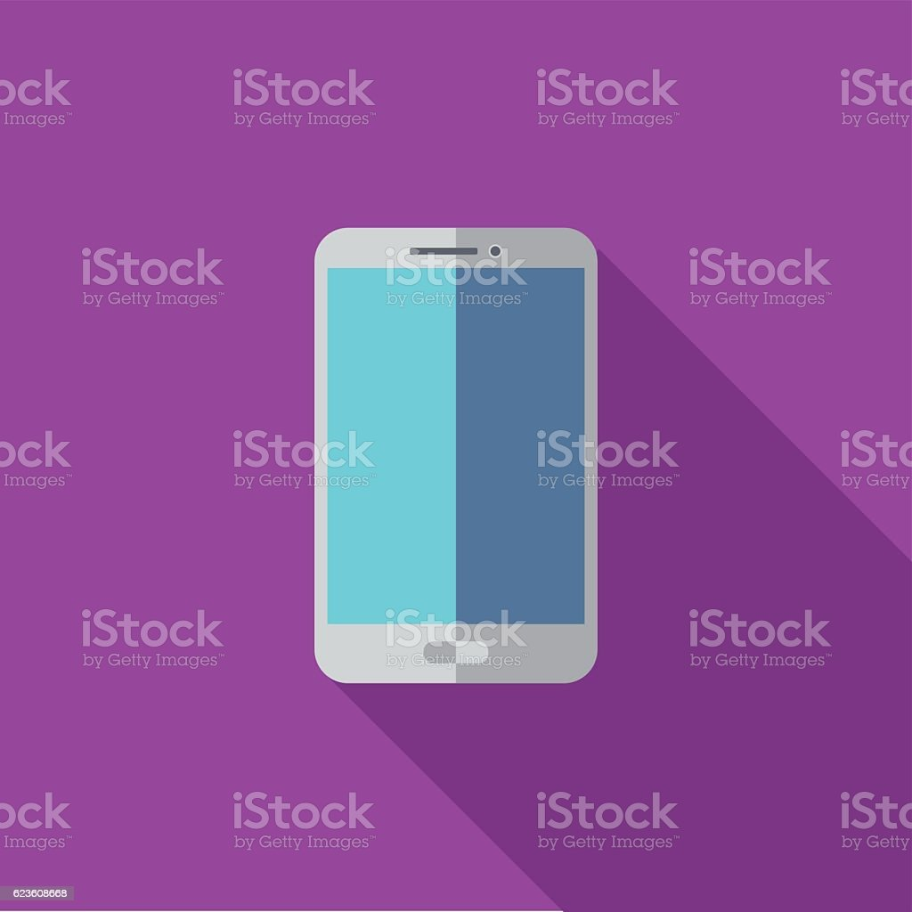 Smartphone with blank screen icon or illustration in flat style vector art illustration
