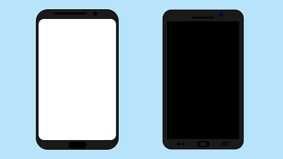 Smartphone with blank screen. White and black. Vector illustration.