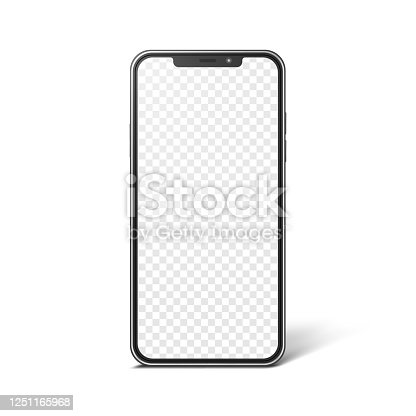 istock Smartphone with blank transparent screen, realistic mockup. Modern frameless phone, vector template for web or mobile app design 1251165968