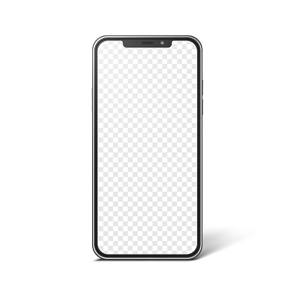 Smartphone with blank transparent screen, realistic mockup. Modern frameless phone, vector template for web or mobile app design.