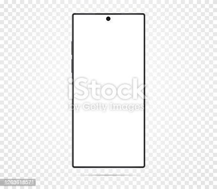 Smartphone with blank white screen. On a transparent background. Realistic cell phone can be a template for infographics or presentation of interface Frame less smartphone Vector Illustration Isolated