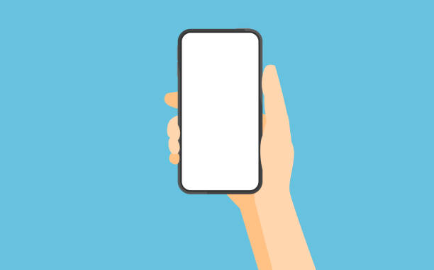 Smartphone with blank white screen vector art illustration