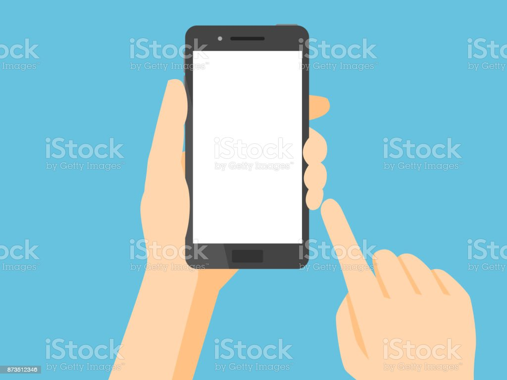 텅 빈 흰 스크린 스마트폰 - 로열티 프리 LCD 벡터 아트