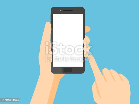 Smartphone with blank white screen.