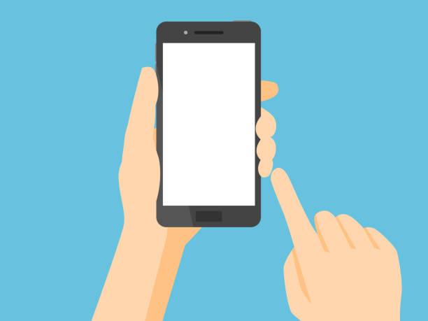 smartfon z pustym białym ekranem - ręka człowieka stock illustrations