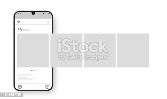 istock Smartphone with carousel interface post on social network. Social media design concept. Vector illustration. 1326387757