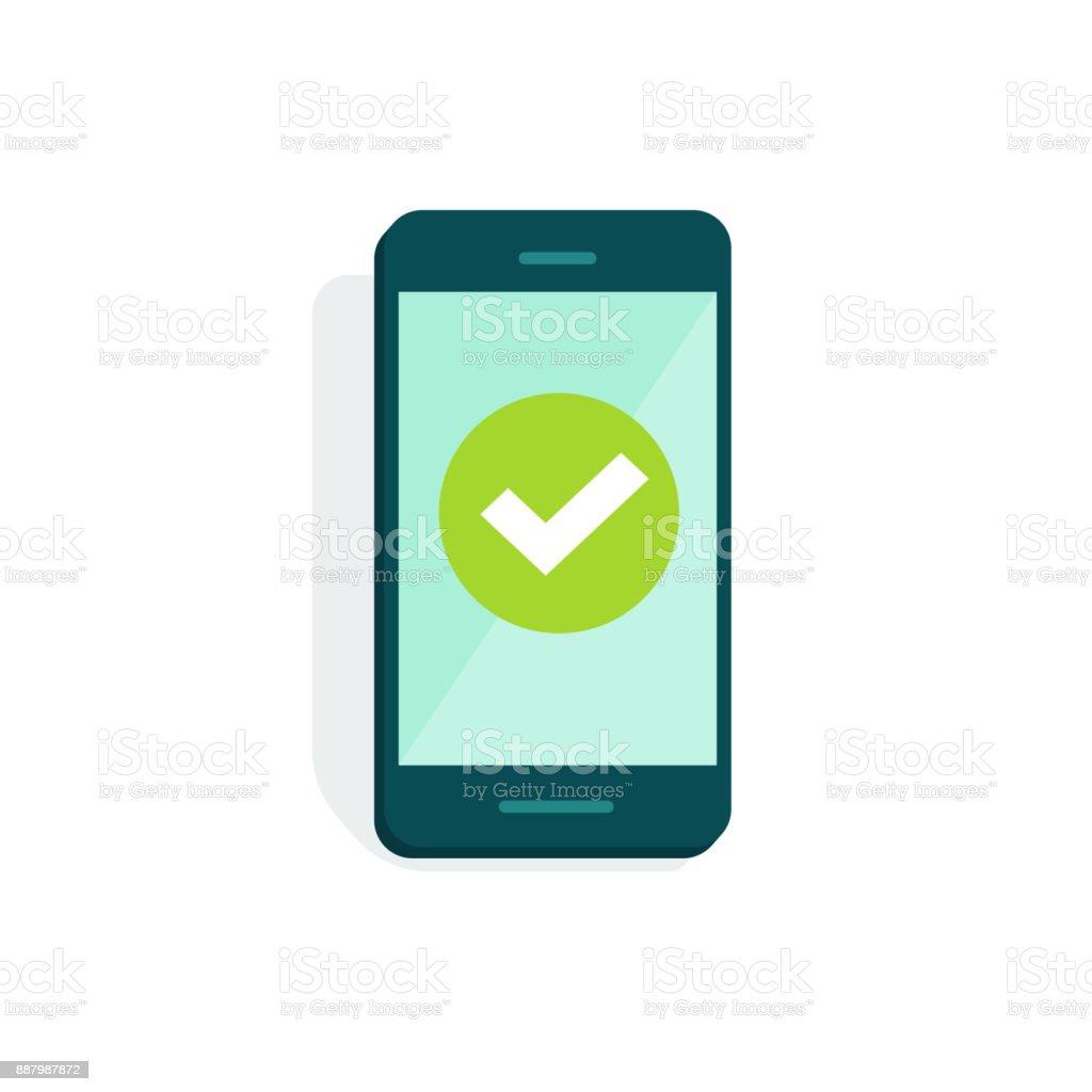 Smartphone mit Häkchen am Display-Vektor-Illustration, flache Cartoon Handy mit grünen Häkchen isoliert auf weiss, Konzept der Handy-Umfrage durchgeführt, Symbol zu akzeptieren, stimmen, Checkbox, Schaltfläche Ja - Lizenzfrei Abmachung Vektorgrafik