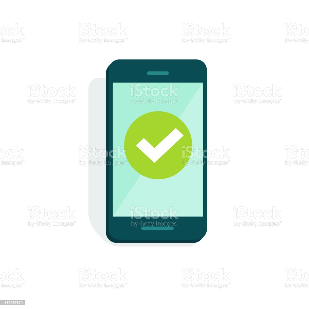 Smartphone with checkmark on display vector illustration, flat cartoon of mobile phone with green tick isolated on white, concept of cellphone survey done, accept icon, vote checkbox, yes button