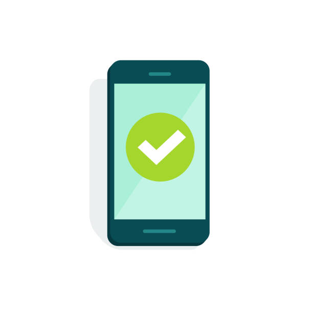 Smartphone with checkmark on display vector illustration, flat cartoon of mobile phone with green tick isolated on white, concept of cellphone survey done, accept icon, vote checkbox, yes button Smartphone with checkmark on display vector illustration, flat cartoon style of mobile phone with green tick isolated on white, concept of cellphone survey done, accept icon, vote checkbox, yes button iphone stock illustrations
